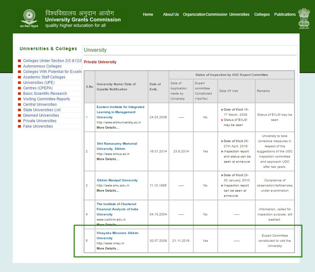 VMSU Letter of UGC Approval Page